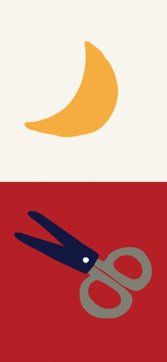 插图 红白 月牙 剪刀