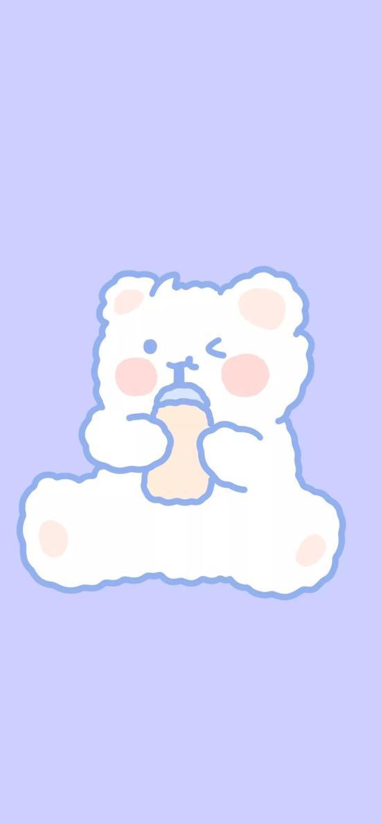 藍色 背景 卡通 小熊