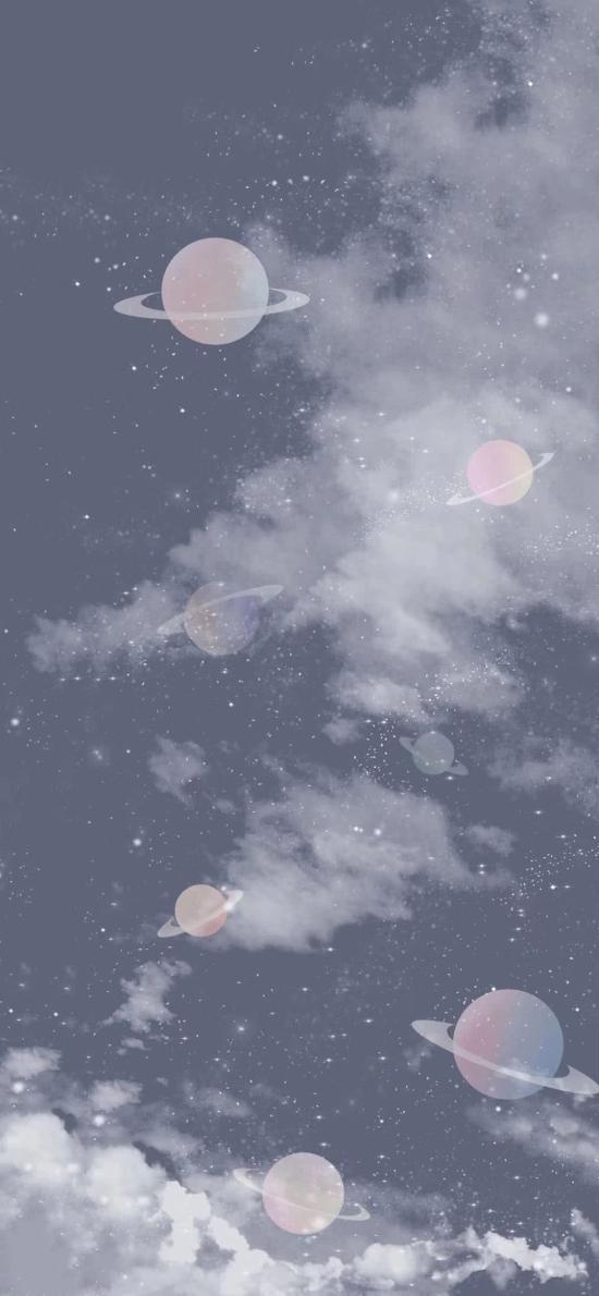 星空 星球 行星 卡通 梦幻