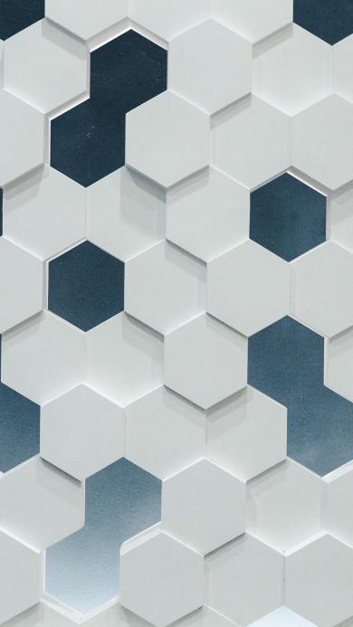 方格 黑白 六邊形 立體