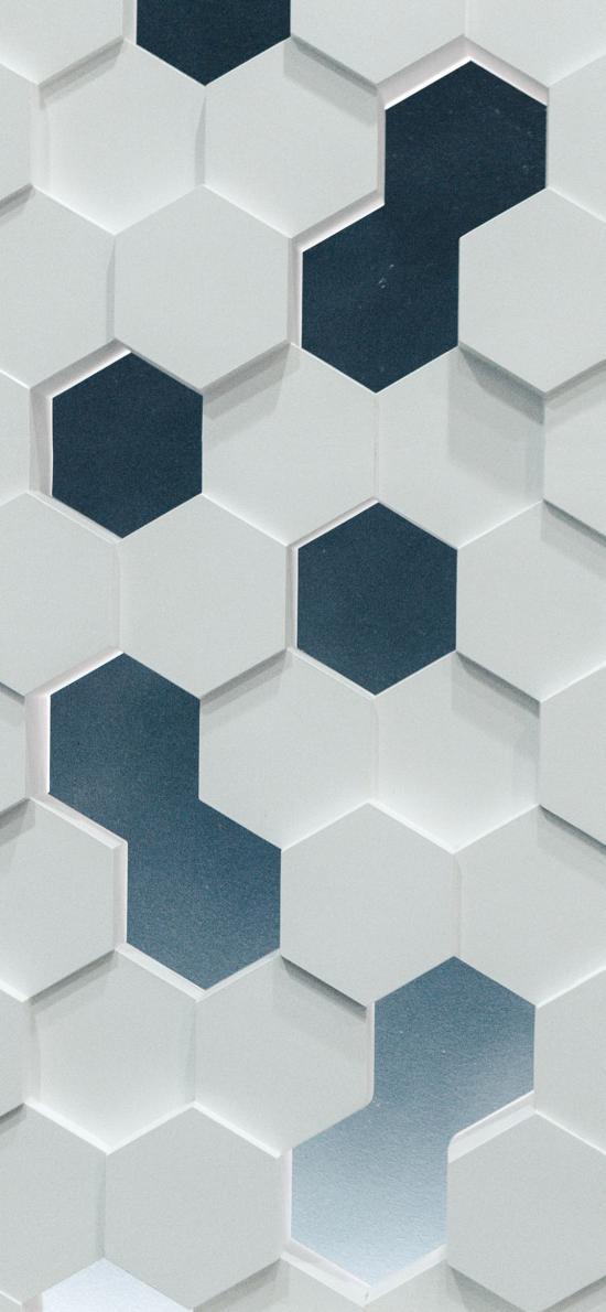 方格 黑白 六边形 立体