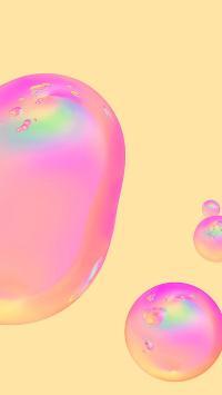 纯色背景 水滴 粉色渐变 苹果