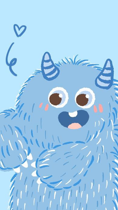 小怪獸 可愛 尖牙 藍色