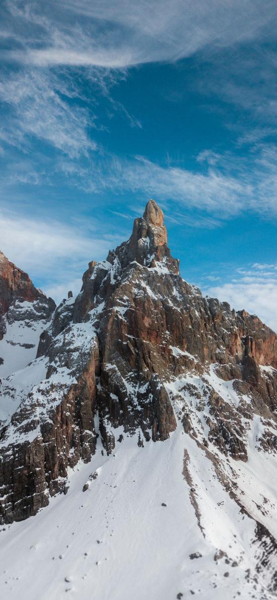 雪季 雪峰 山頂 天空