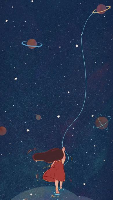 太空 宇宙 女孩 放飛 藍色 星球 星空