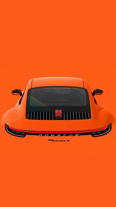 保时捷911 超级跑车 炫酷 橘色