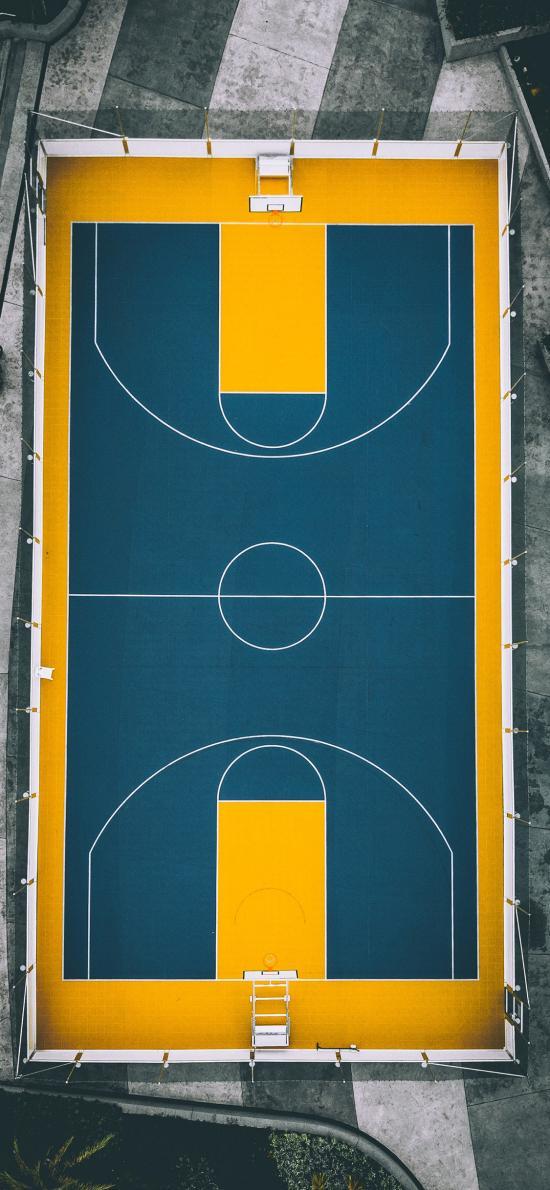 篮球场 运动 线条 航拍