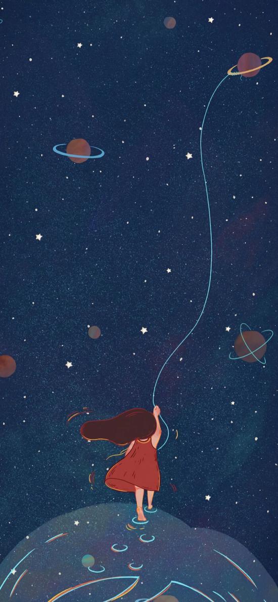 太空 宇宙 女孩 放飞 蓝色 星球 星空