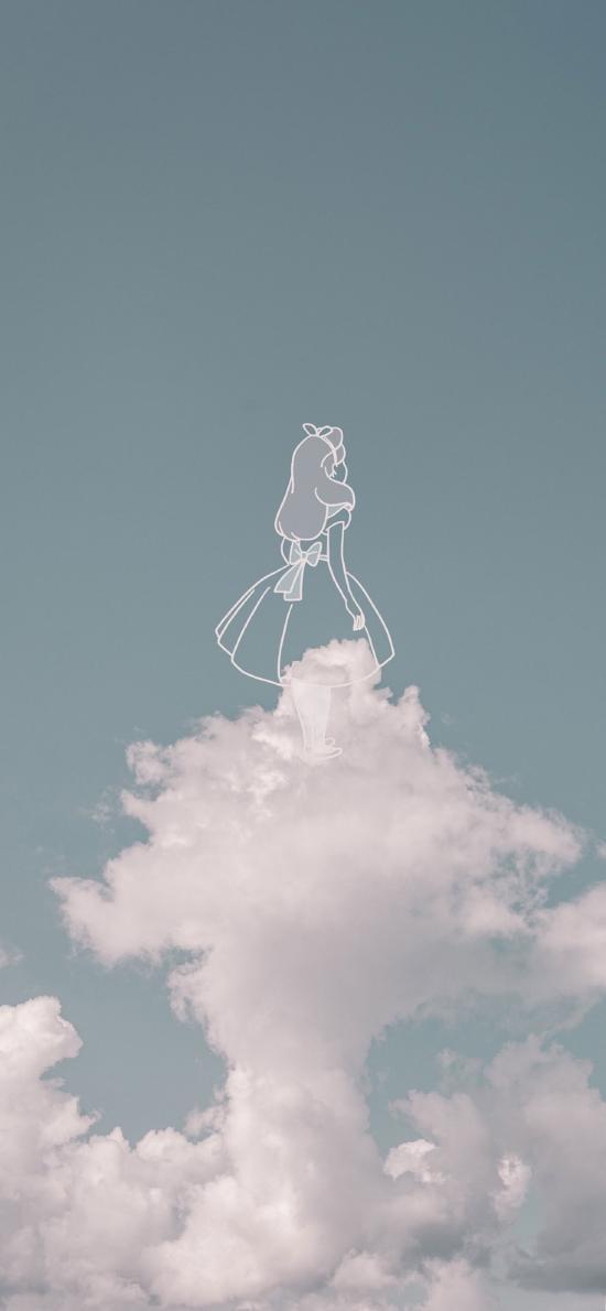 灰姑娘 简笔画 天空 云朵