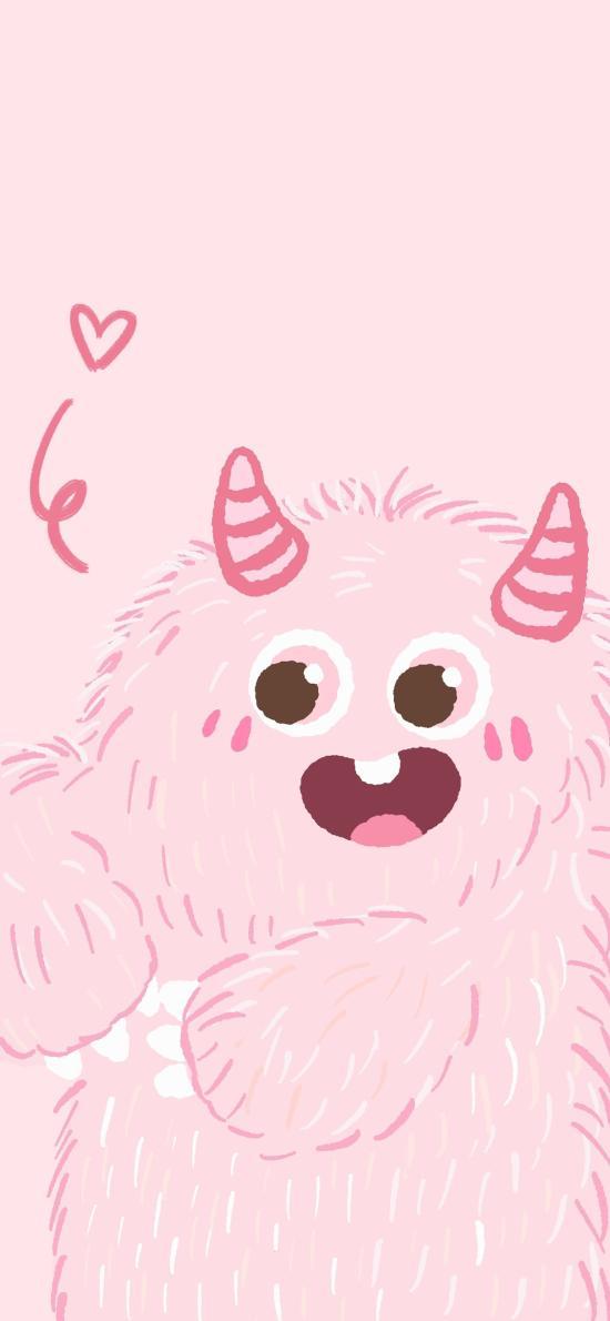 小怪兽 粉色 可爱 牙齿 角