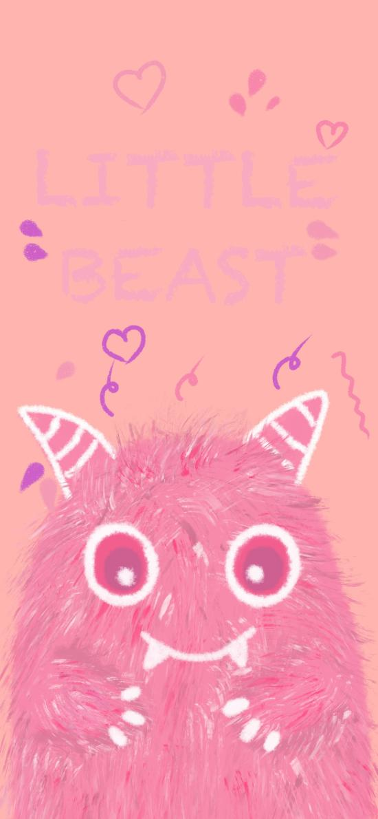 小怪兽 粉色 可爱 牙齿