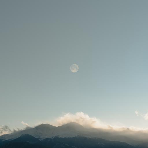 景色 月亮 天空 群山