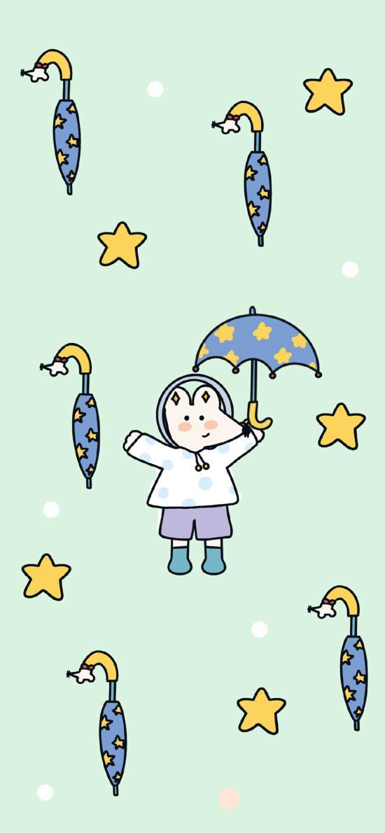卡通 老鼠 雨伞 平铺