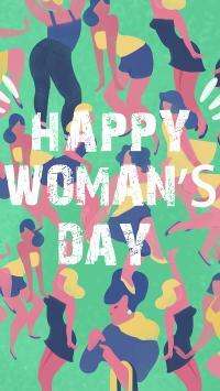 妇女节快乐 英文 绿色 女性 插画
