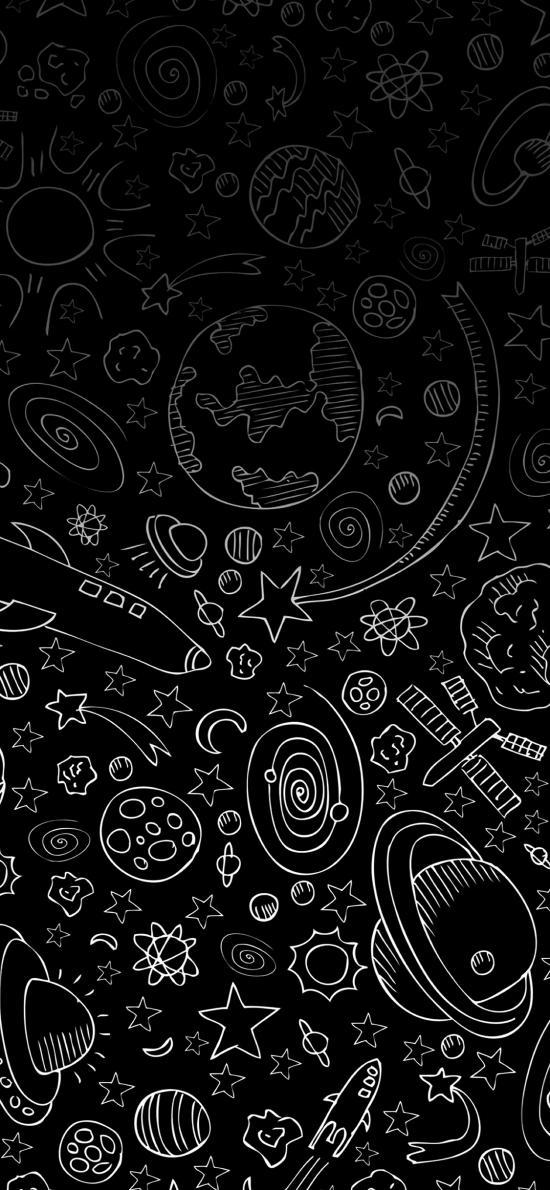 黑白 星球 五角星 漸變