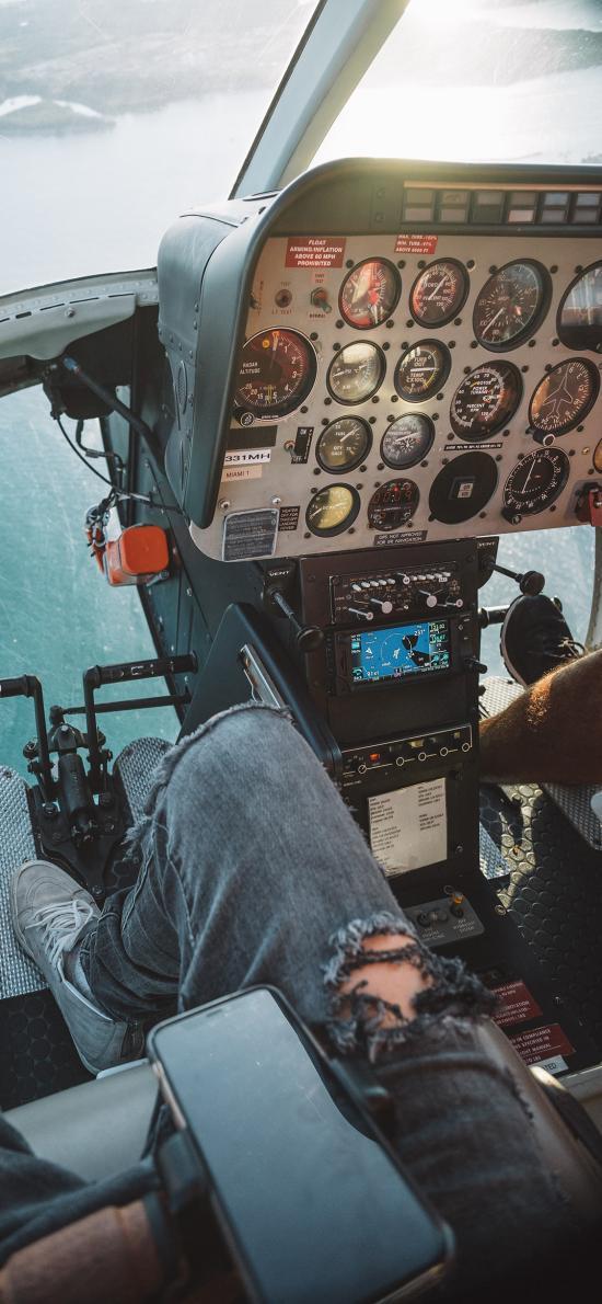 直升机 飞行 海 驾驶舱 航空