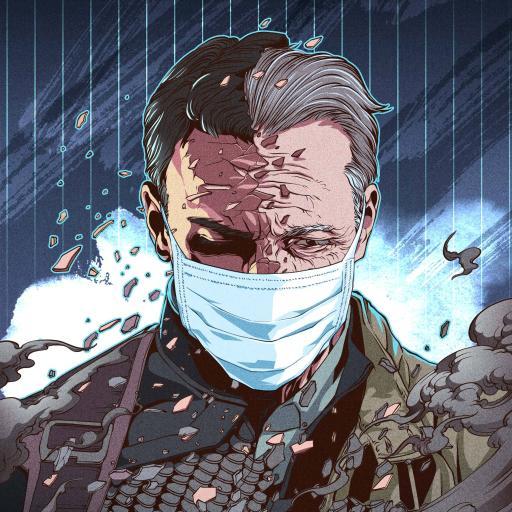 美国队长 漫威 插画 疫情 口罩(取自站酷网:插画杨权)