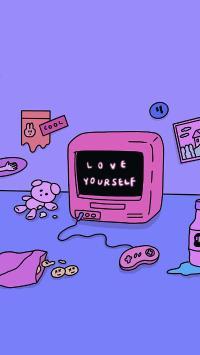 爱自己 电脑 紫色 love yourself cool
