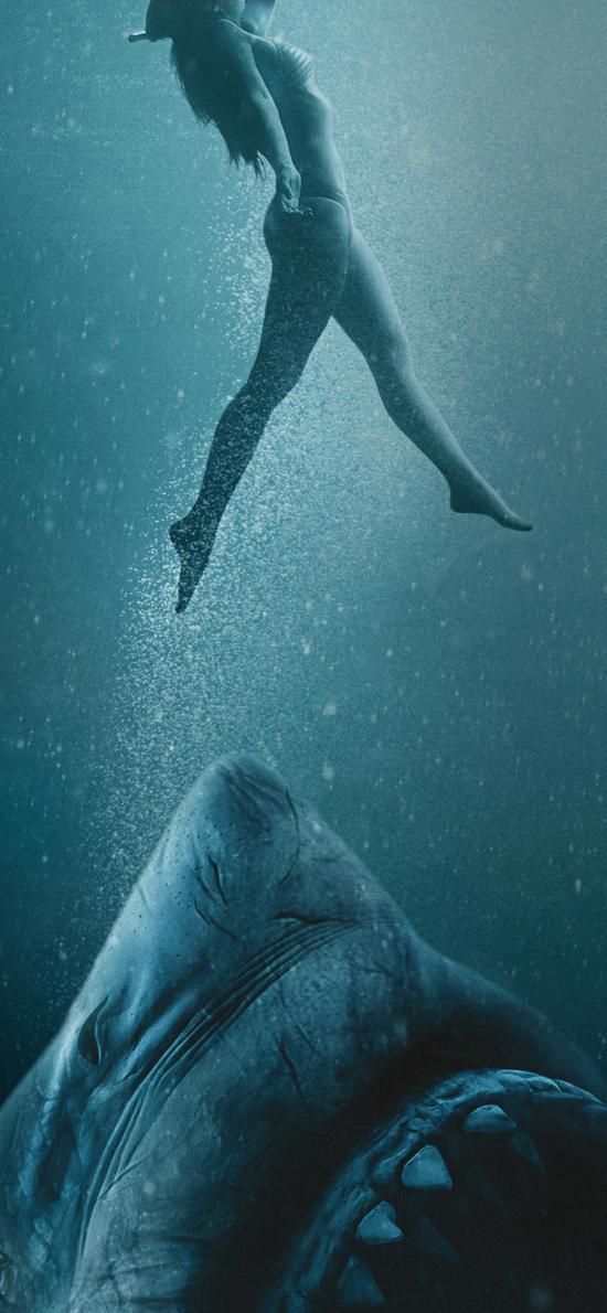 鲨海逃生 电影 海报 恐怖 鲨鱼 大海