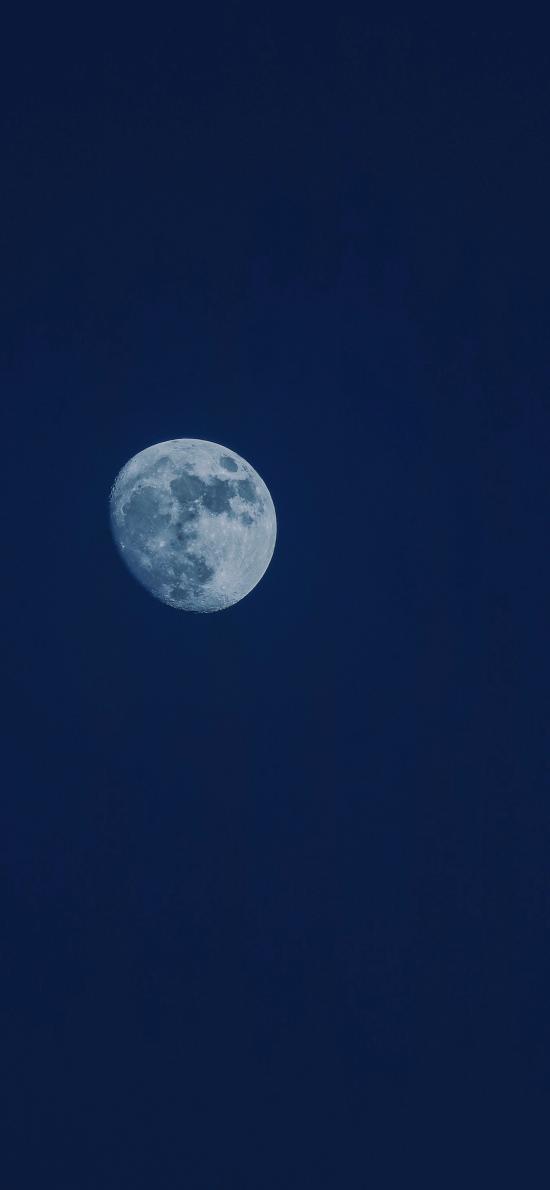 月亮 天空 夜晚 藍色 深邃