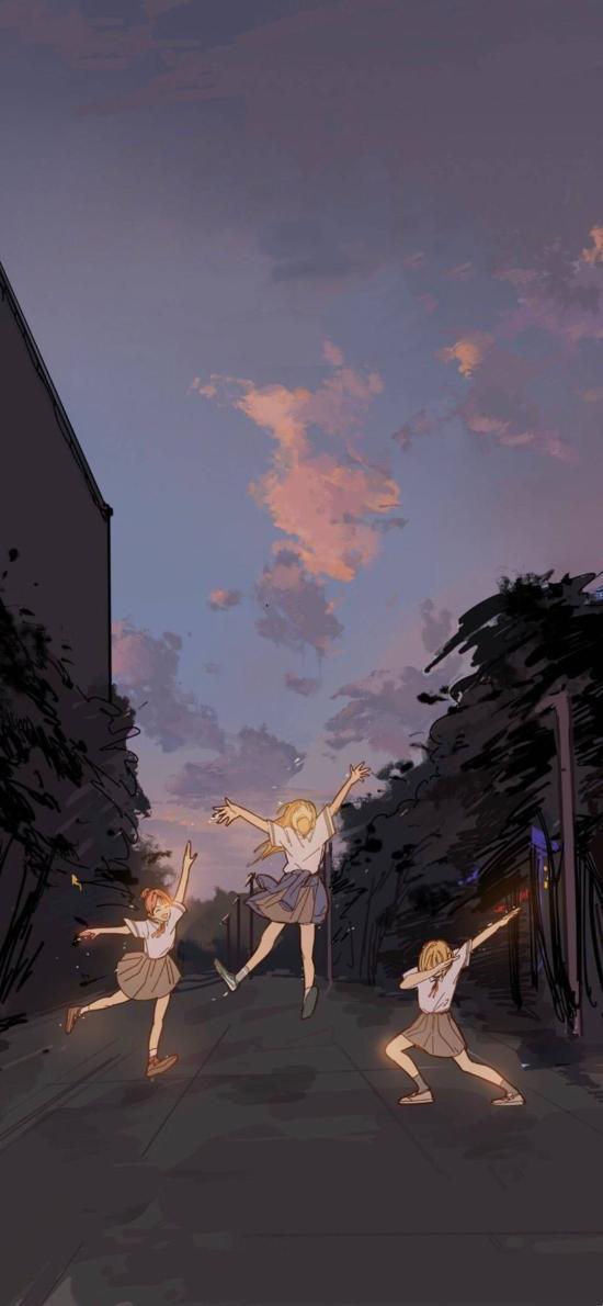 动漫场景 少女 跳舞 二次元