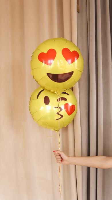 气球 黄色 表情 爱心
