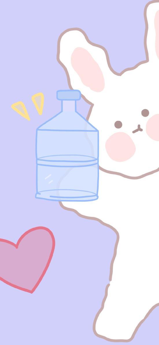 卡通 兔子 飲水桶 愛心