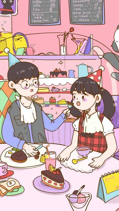 甜品店 情侣 爱情 蛋糕