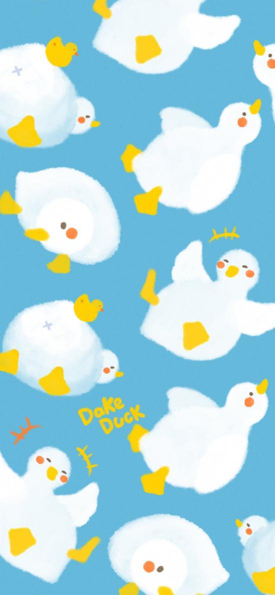 卡通 達可鴨 dake duck 平鋪