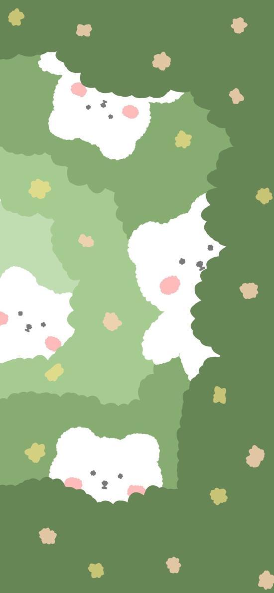 卡通 小熊 可愛 綠色