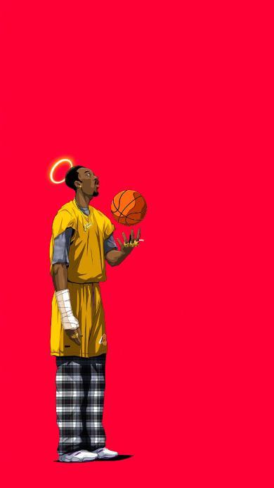 科比 篮球 球星 卡通 运动员 NBA 红色