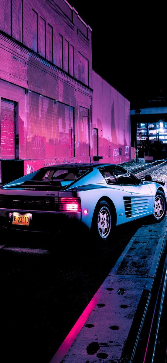 法拉利 超级跑车 炫酷 道路 夜晚