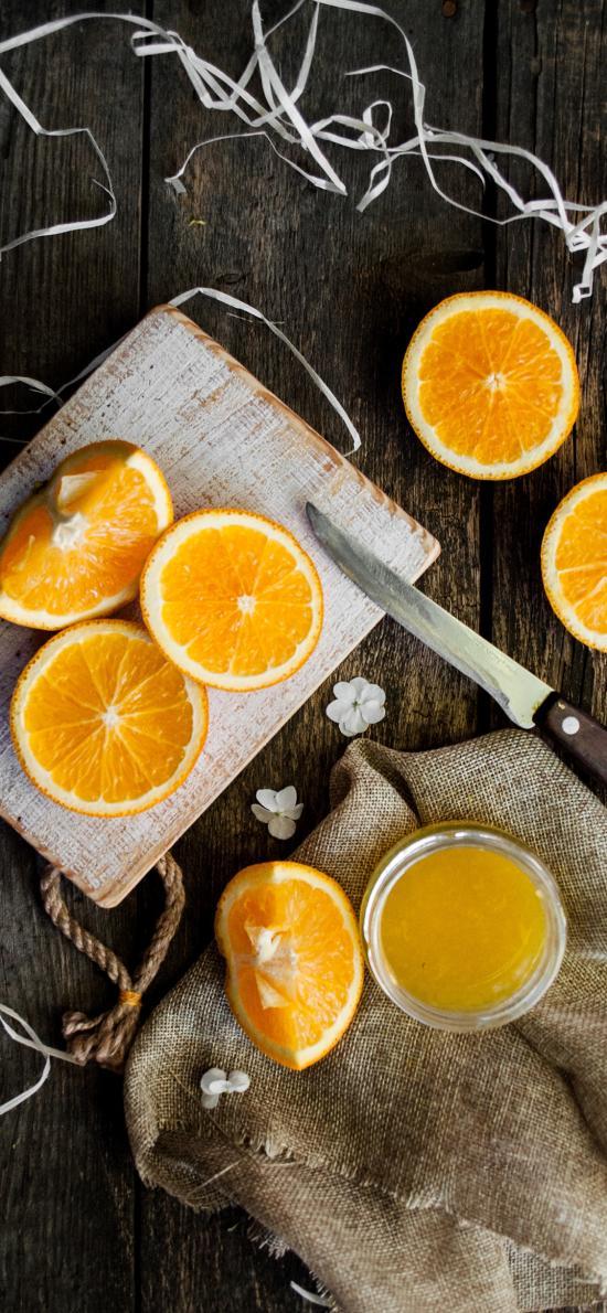 水果 橙子 果汁 案板