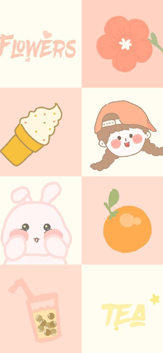 可愛 卡通 冰淇淋 格子 橘子