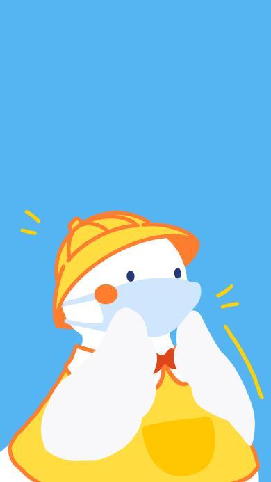 可爱 鸭子 蓝 达可鸭 口罩