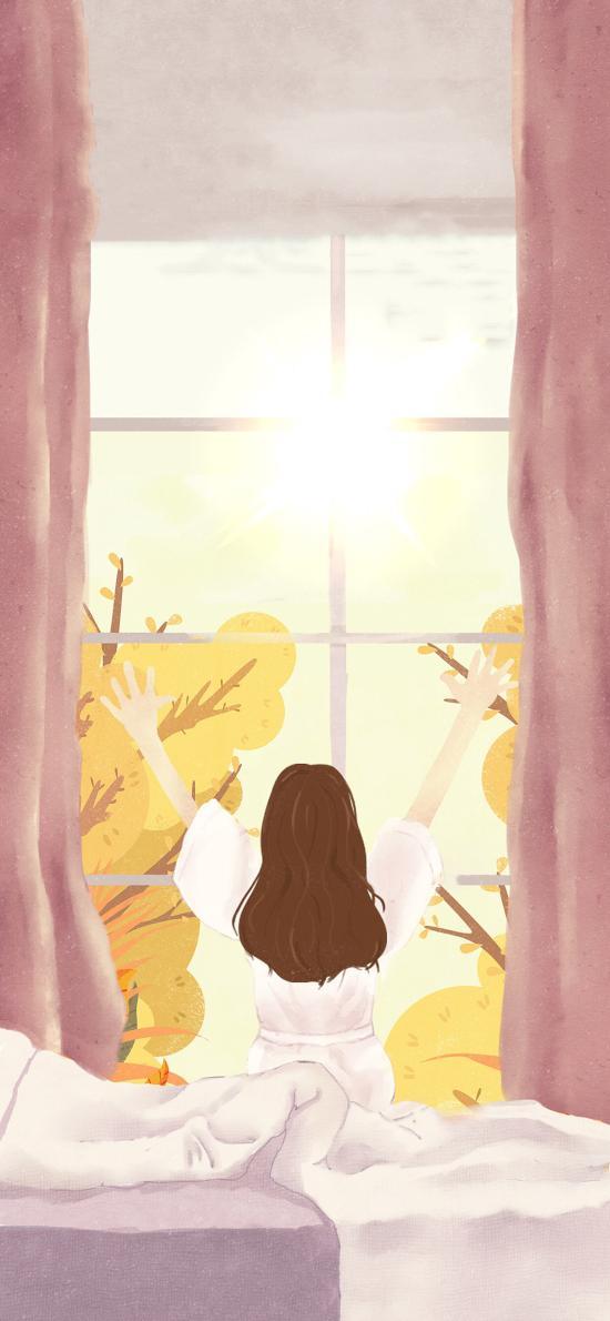 繪畫 插畫 窗前 背影 窗臺