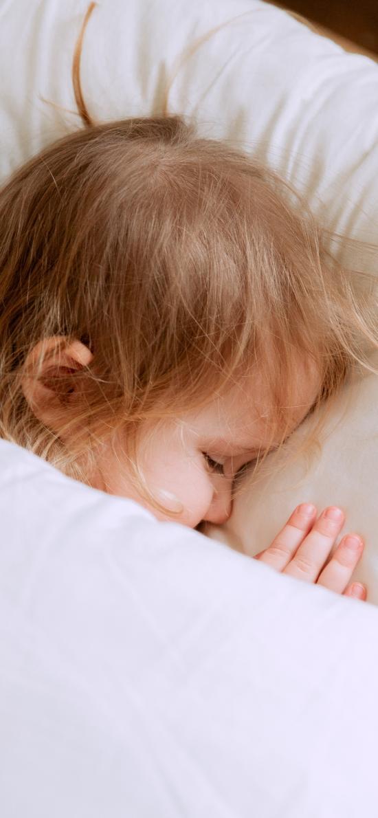 睡梦 小女孩 金发 欧美 可爱 儿童 孩子