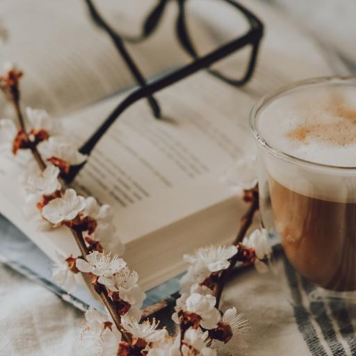 静物 花枝 书籍 咖啡