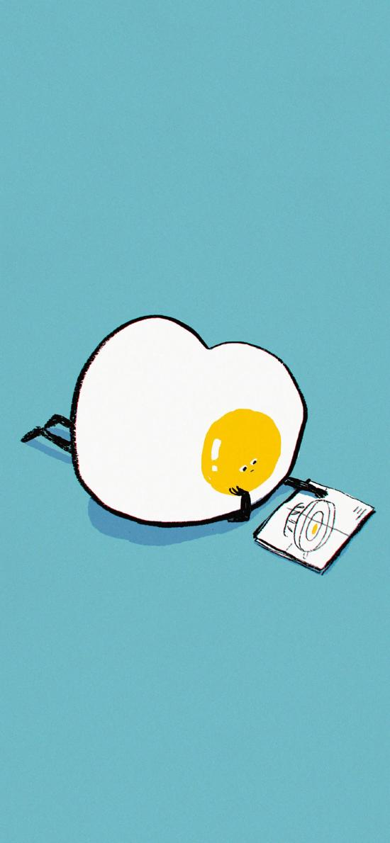 藍色背景 簡筆畫 煎蛋 看書