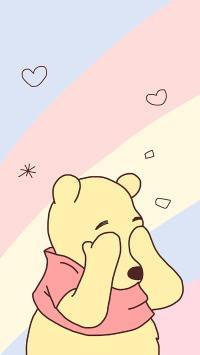 維尼熊 可愛 卡通 色彩 愛心