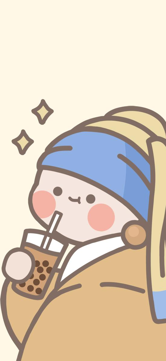 插画 奶茶 可爱 带珍珠耳环的少女卡通