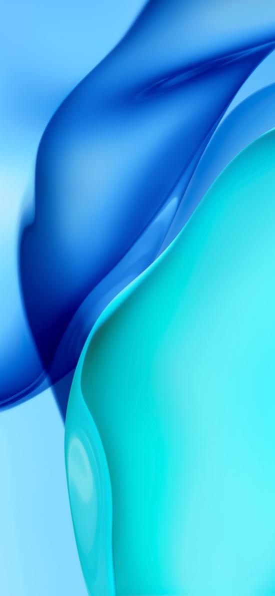 蓝色 流动 线条 柔和