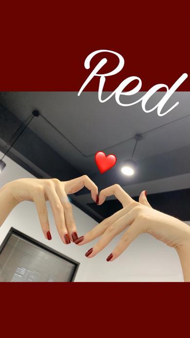 单词 red 红色 爱心 比心
