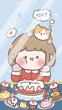 可愛 吃貨 甜品 糕點 女孩