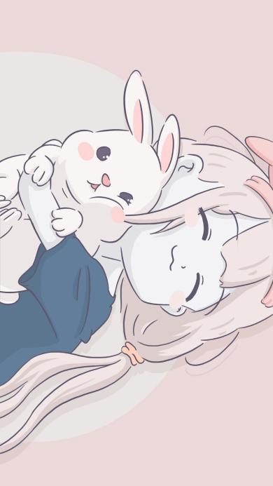 卡通 萝莉 兔子 睡觉 可爱