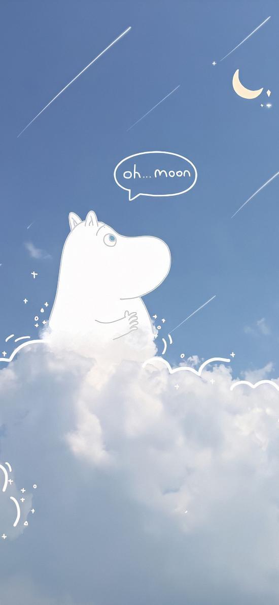 云朵 月亮 繪畫 可愛 插畫