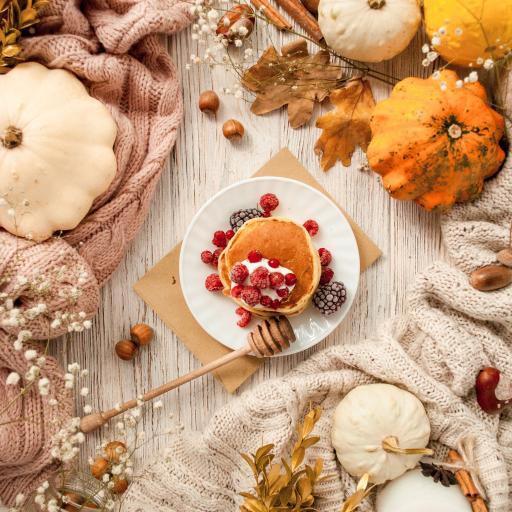 靜物 松餅 樹莓 南瓜 干花
