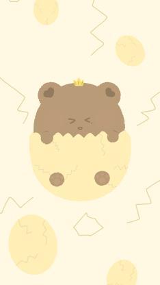 插畫 可愛 小熊 蛋殼 黃