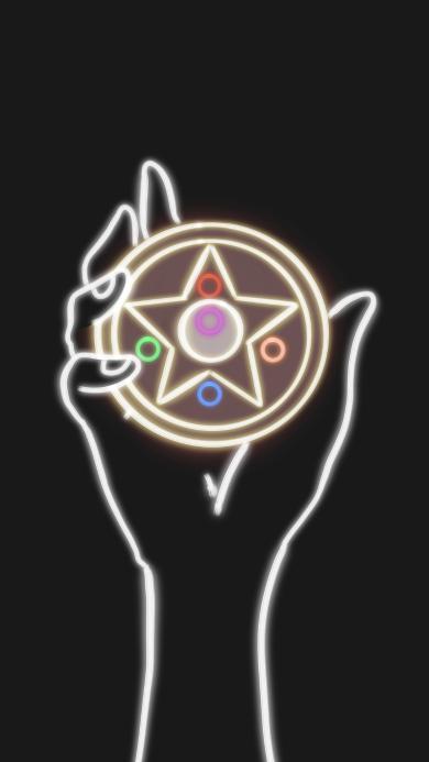 百變小櫻 庫洛牌 黑白 變身  五角星