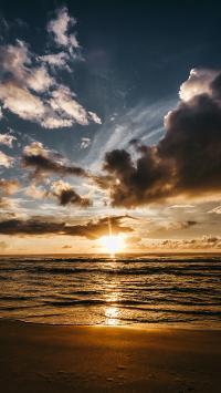 夕阳 大海 沙滩 海景